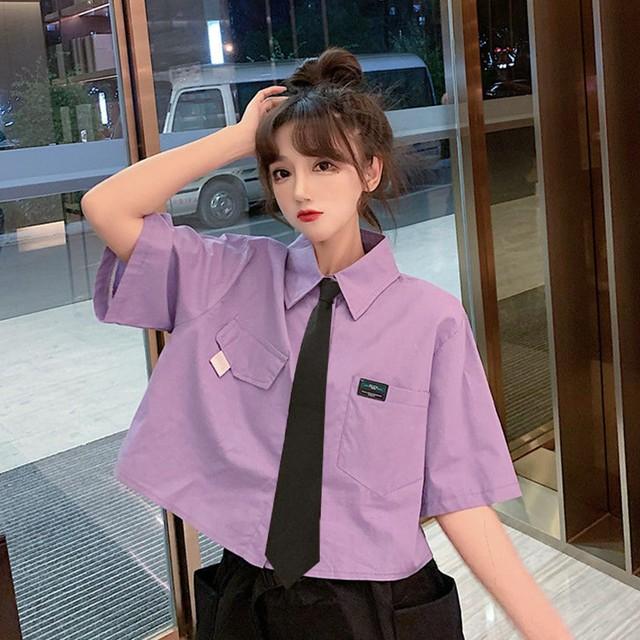 【トップス】韓国系半袖シングルブレストPOLOネックショート丈シャツ+ネクタイ45436136