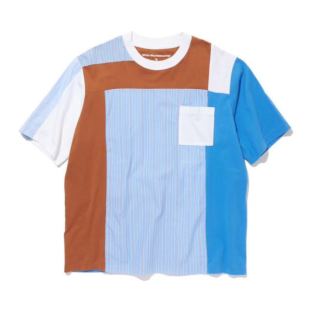 STRIPE CONTRASTED T-SHIRT- BLUE
