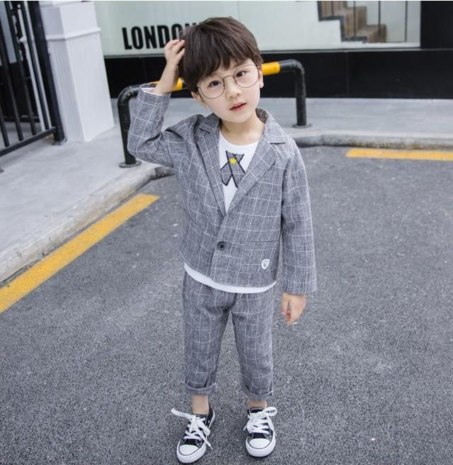 【セット】無地コットン長袖ファッションカジュアルボーイズ3点セット24803014
