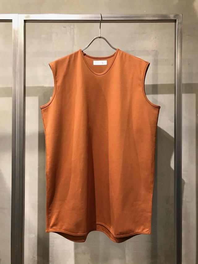T/f cotton ponte fabric sleeveless top - dark sand