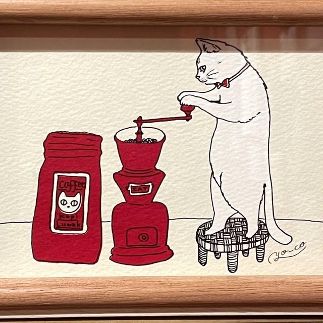【YO-CO】銅版画「純喫茶店の猫マスター」