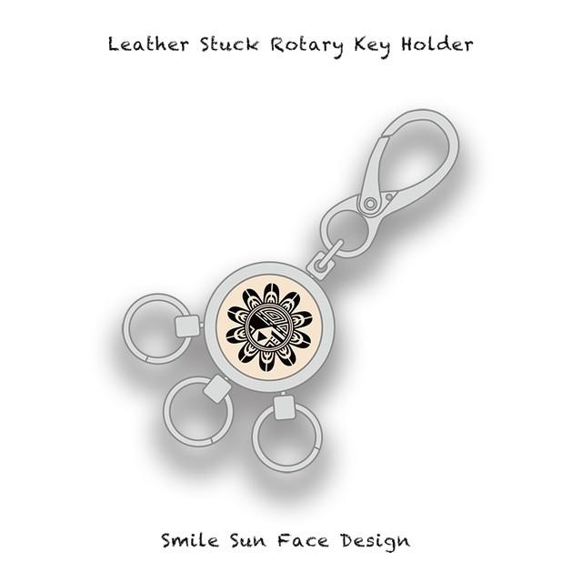 Leather Stuck Rotary Key Holder / Smile Sun Face Skull Design 002
