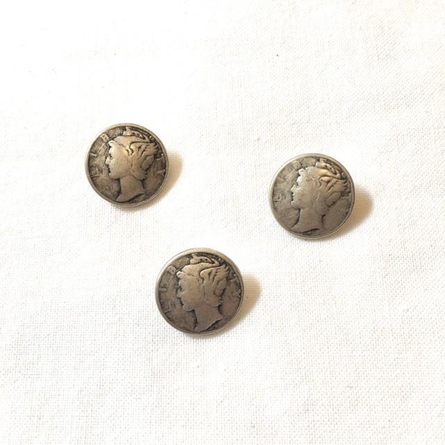 フランスボタン(アンティークシルバー コイン)