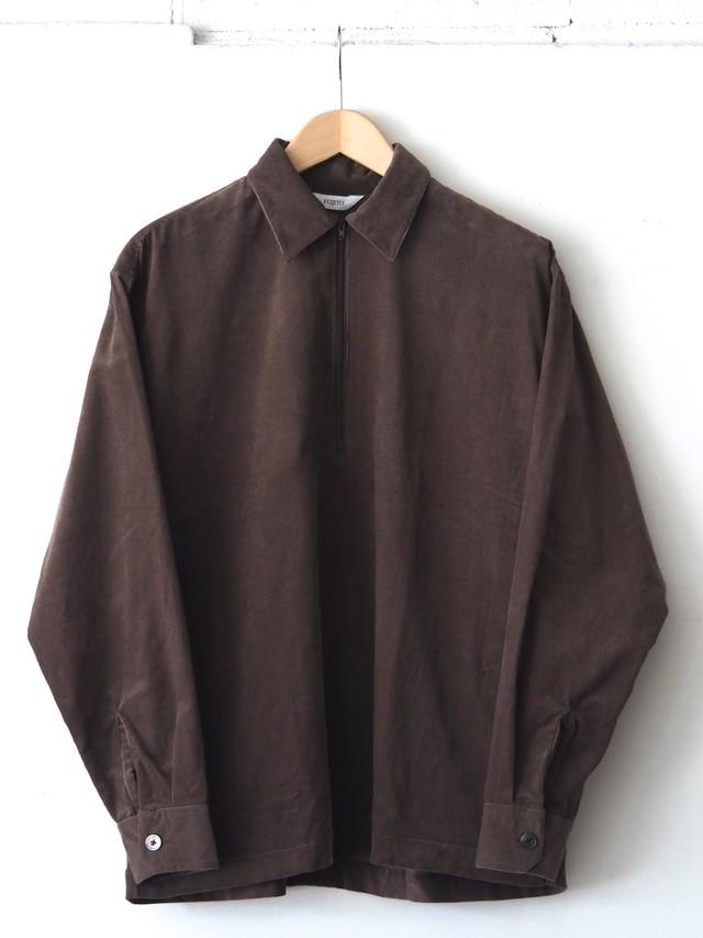 FUJITO Half Zip Shirt Brown,Navy,White