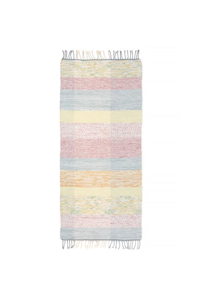 Aya Textile / TRASMATTOR(トラースマッタ) 手織りの裂き織りラグ  グリーン・レッド・イエロー