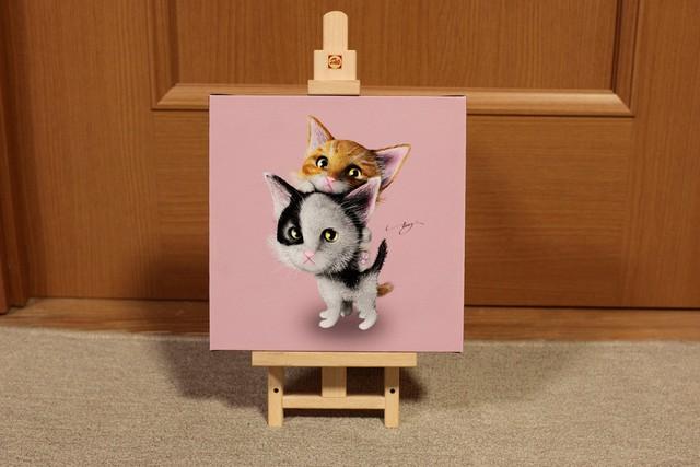 【20cm x 20cm ジクレー版画】子猫_ピンクバージョン