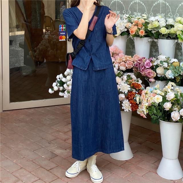 【送料無料】デニムブラウス+スカート2点セット♡セットアップ デニムシャツ デニムスカート カジュアル 着回し オシャレ