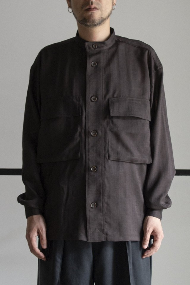 【RAINMAKER】SHADOW STRIPE BAND COLLAR SHIRT RM211028