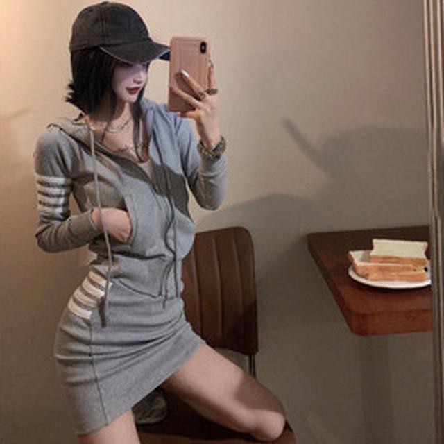 【セット】「単品注文」ファッション長袖フード付きジッパーパーカー+スカート38848463