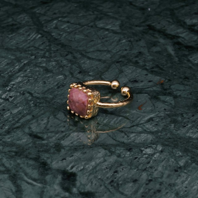 SINGLE SQUARE STONE RING GOLD 001