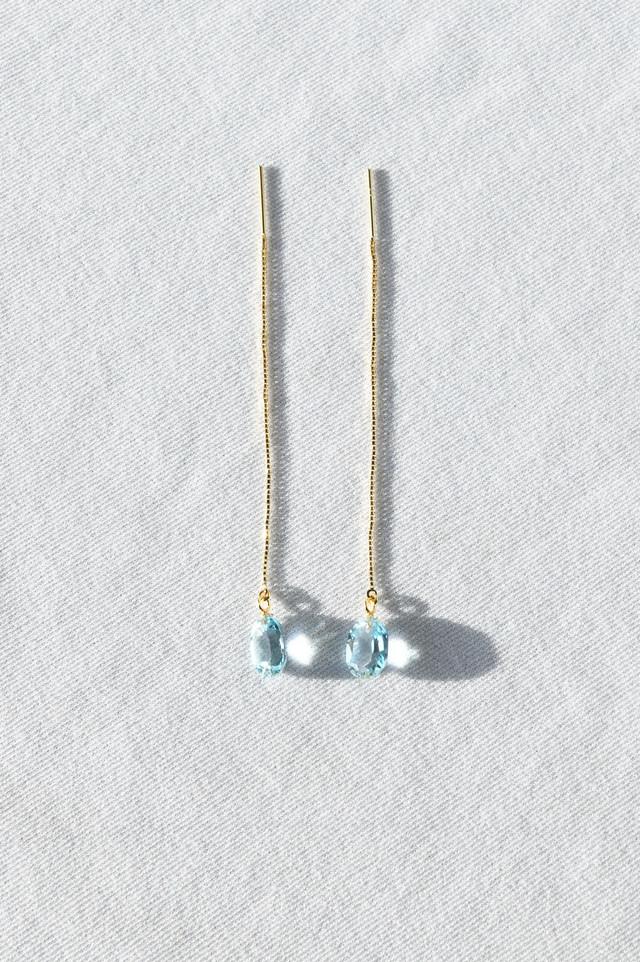 K18 Blue Topaz Long Chain Earrings 18金ブルートパーズロングチェーンピアス/イヤリング