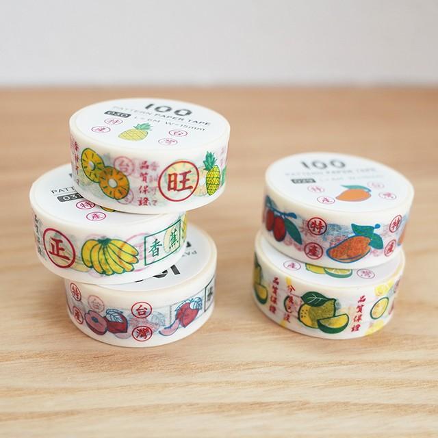 再入荷【台湾】 マスキングテープ (パイナップル、バナナ、ピーチ、マンゴー、レモン)