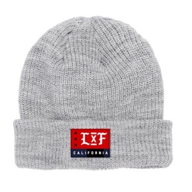 LIVE FIT LXF Ribbed Cuffed Beanie- Heather Grey