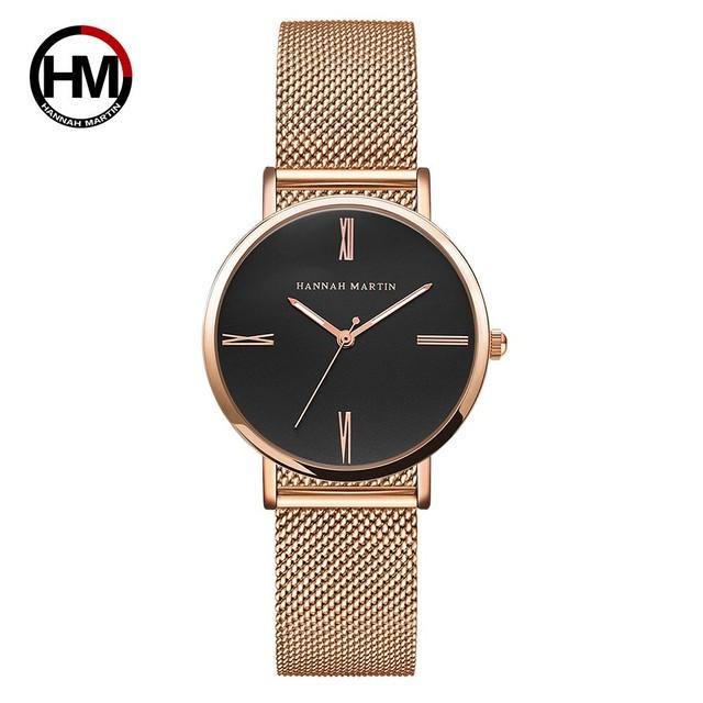 新しいデザインスタイルシンプルな日本クォーツムーブメントステンレス鋼防水シンプルなドレスレディース高級ブランドの女性のための腕時計3801-H-WFF