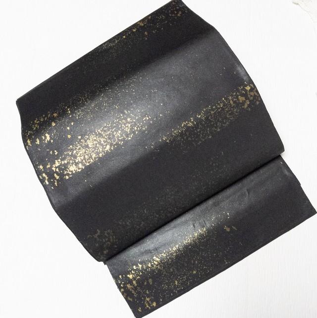 【COOL】袋帯 六通 破れ横段 金箔のり散らしシャイニーブラック