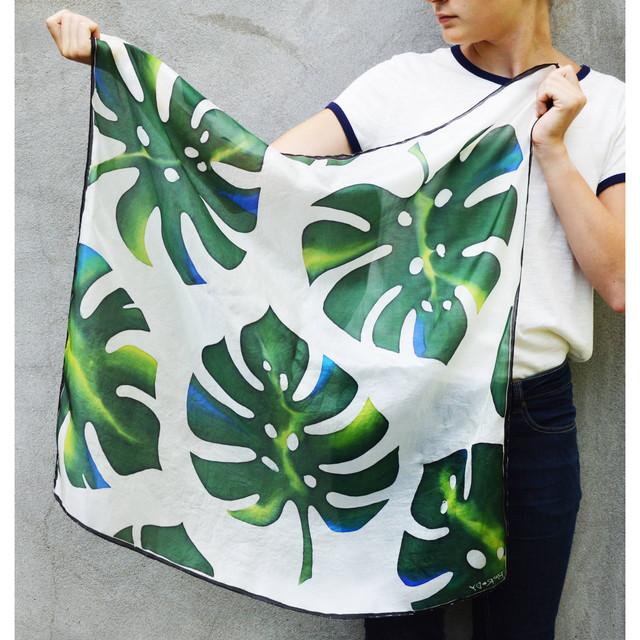 SilkandMore パームクラシックシルクスカーフ 75cm