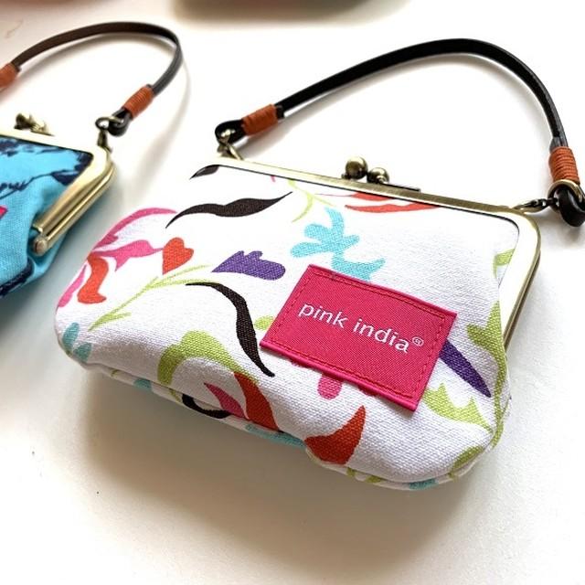 北欧デザイン 持ち手付手提げがまぐち財布 | feather