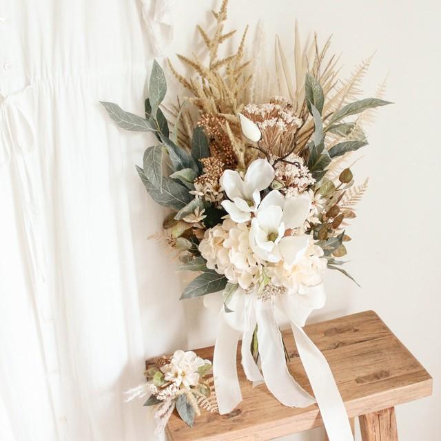【再販】White Magnolia Bouquet&Boutonniere