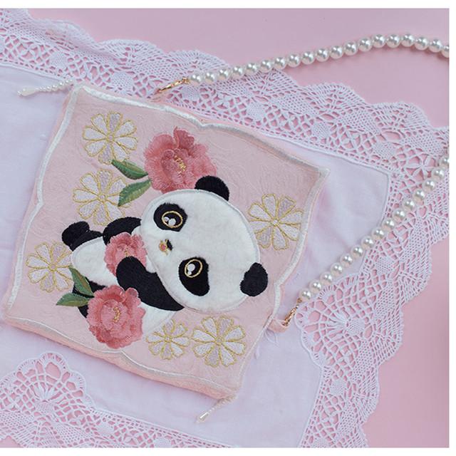 【猫小姐シリーズ】★超可愛いバッグ★ パンダ 動物 刺繍 手作り オリジナル ショルダーバッグ