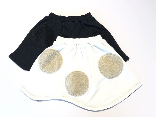 【19AW】フランキーグロウ ( franky grow ) UNEVEN BOA DOTS SWEAT SKIRT/ WHITE・ BLACK [ S / M / L ]