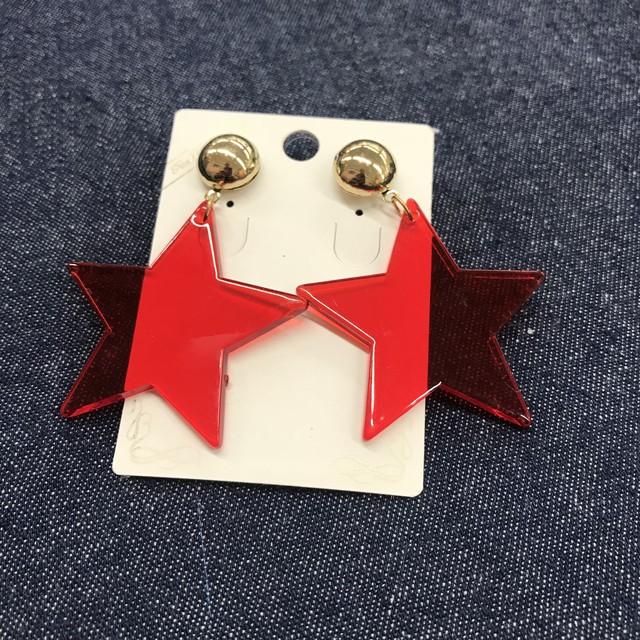 〜星 ビッグスター ピアス〜 赤 red star