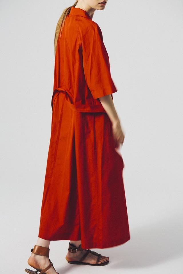 Cotton Open Collared Long Shirt Dress