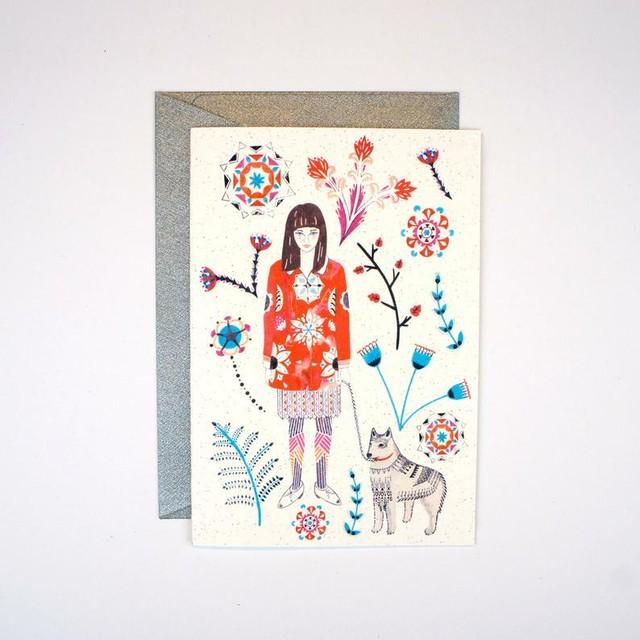 Girl and Husky Card