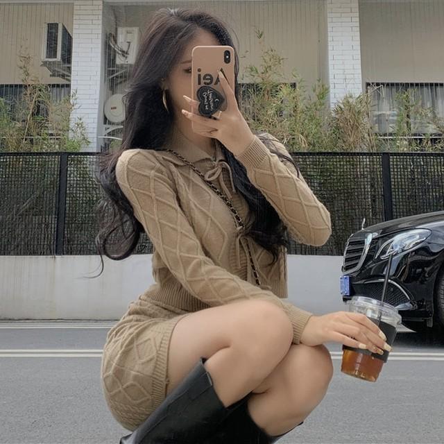 【ワンピース】セクシーファッション長袖無地ニットワンピース36309896