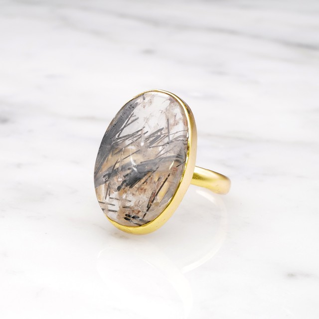 SINGLE BIG STONE RING GOLD 077