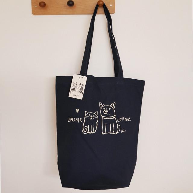 トートバッグ[Love cats, Love dogs.1]M ナチュラル×グレー