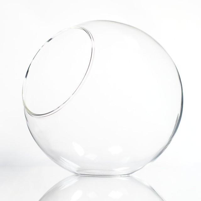 【M】丸型 斜め口 ガラスボトル 苔テラリウム 容器 ボトリウム ボトルアクアリウム