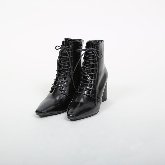 Enamel Lace-up Boots
