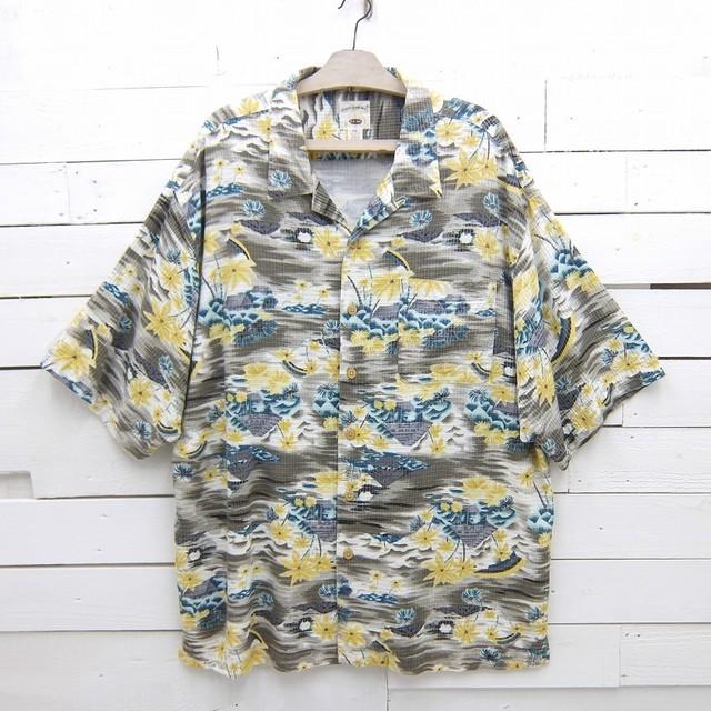 Original Island Sport オープンカラー ハワイアンシャツ 総柄 レーヨン アロハシャツ ワッフル生地 メンズ 2XLサイズ