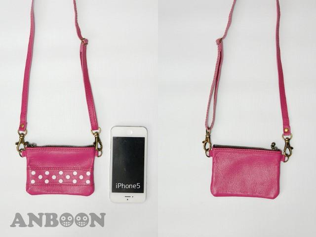 ネックストラップ付 miniペタンコレザーポーチ(ドット)(ピンク)