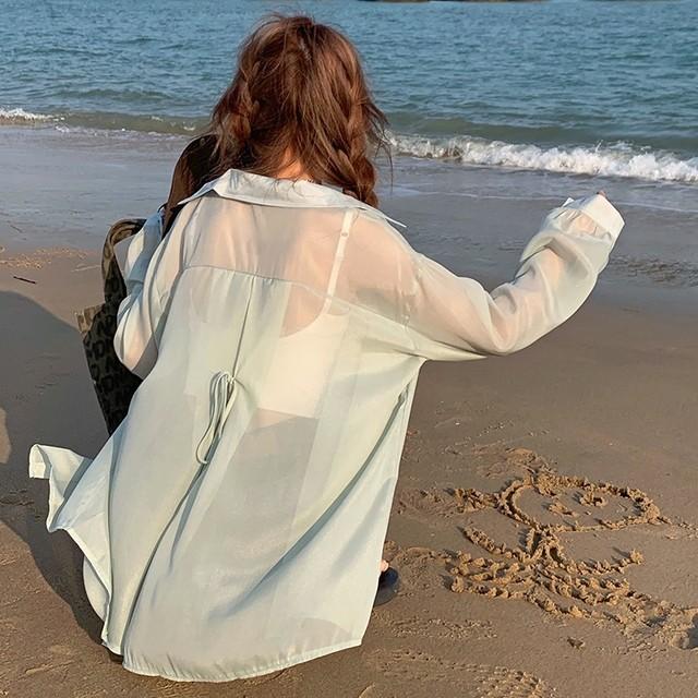 シースルーシャツ 長袖 バックリボン 透け感 シアー ルーズ 日焼け防止 体型カバー 羽織 キャンディカラー シンプル トレンド TP3369