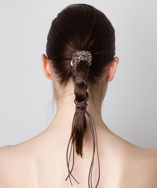 Joe19AW-30 chain leather hair accessory (silver)