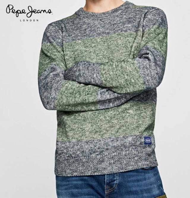 ペペジーンズ ニット セーター クルーネック ボーダー メンズ トップス PEPE JEANS LONDON TEO MARBLE STRIPED SWEATER DULWICH【正規取扱店】