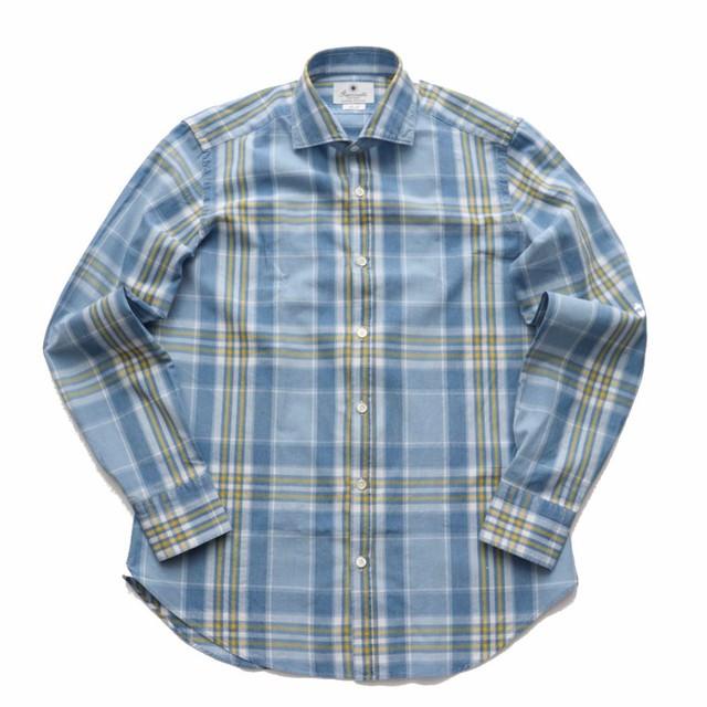 GIANNETTO / ジャンネット ブリーチ チェック コットンセミワイドカラーシャツ