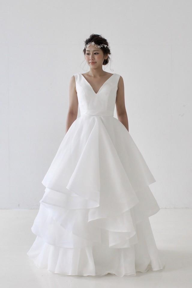 Mandarin♡揺れるオーガンジーが印象的なAラインドレス