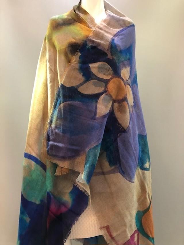 LARIOSETA イタリア製ウールガーゼプリントスカーフ K24310233