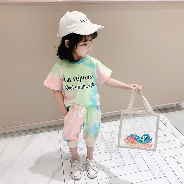 【セット】配色 アルファベット 半袖 おしゃれ 女の子 2点セットアップ29915714