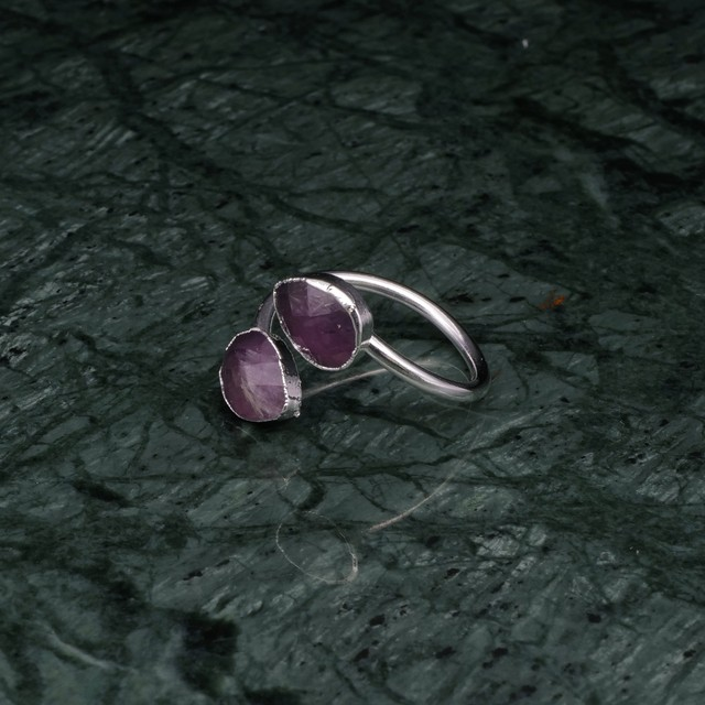DOUBLE STONE OPEN RING SILVER 001