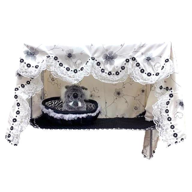 ケージカバー&マット セット(ドレスお花刺繍)