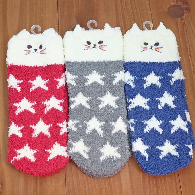 裏パイル・裏起毛の猫と雪柄ソックス【靴下】