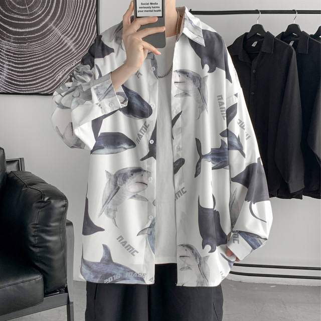 【阿茶と啊古シリーズ】★シャツ★2color サメ トップス 男女兼用 カップル服 大きいサイズ メンズ 白 黒