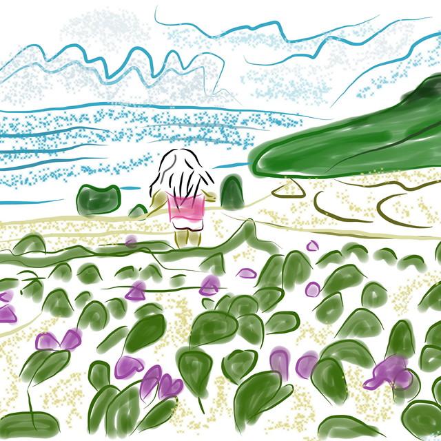 絵画 インテリア アートパネル 雑貨 壁掛け 置物 おしゃれ 風景画 アブストラクトアート ロココロ 画家 : YUTA SASAKI 作品 : 海を見ていた少女