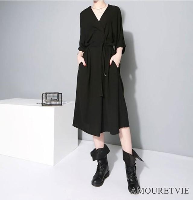 ワンピース ドルマンスリーブ ゆったり 羽織 黒 ブラック グレー シック オシャレ モード系 ヴィジュアル系 1388