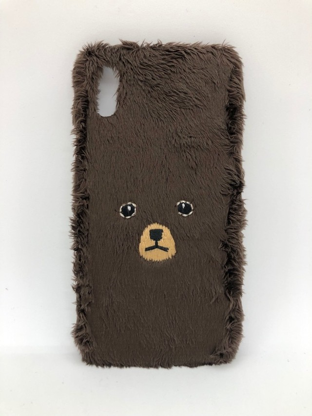 【秋冬もの/即納品】【iPhoneX/Xs専用】くまiPhoneケース【ブラウン】