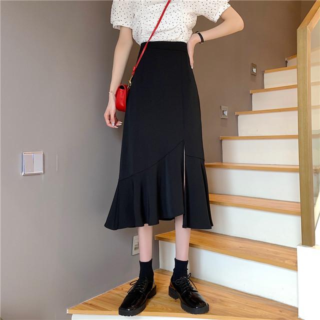 【YUANNIANシリーズ】★スカート★ 2color マーメイドスカート ボトムス 着痩せ セクシー ブラック ベージュ S M L