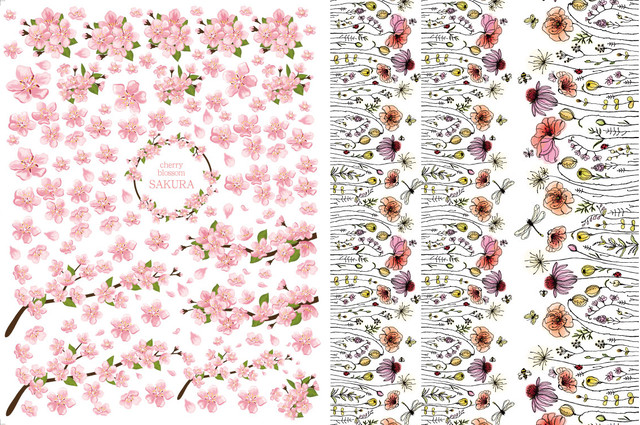 【set割引】2枚セット SAKURA咲く・野に咲く花 (ポーセラーツ用転写紙)
